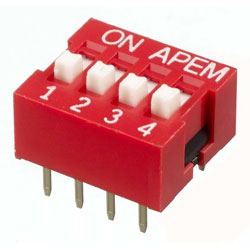 INTER DIP SWITCH APEM 4 CONTACTS NDS