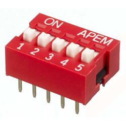 INTER DIP SWITCH APEM 5 CONTACTS NDS