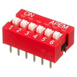 INTER DIP SWITCH APEM 6 CONTACTS NDS
