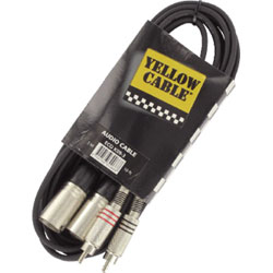 YELLOW CABLE 2 RCA MALE / 2 XLR MALES 3M
