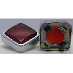 CABOCHON CARRE CHROME VERRE ROUGE